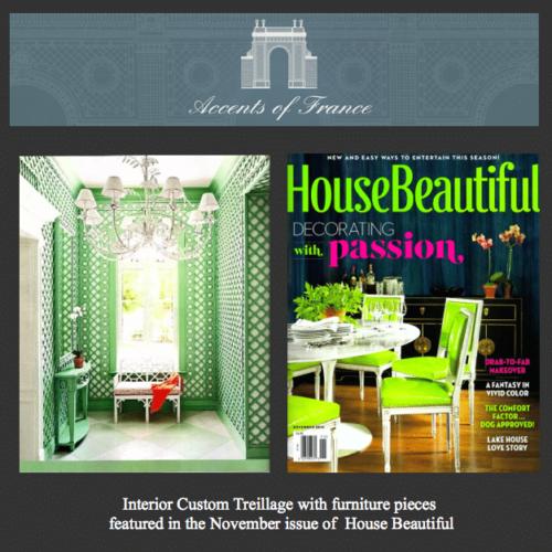 Our custom interior treillage in House Beautiful