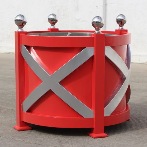 Round Aluminum Cross planter with stainless steel finials